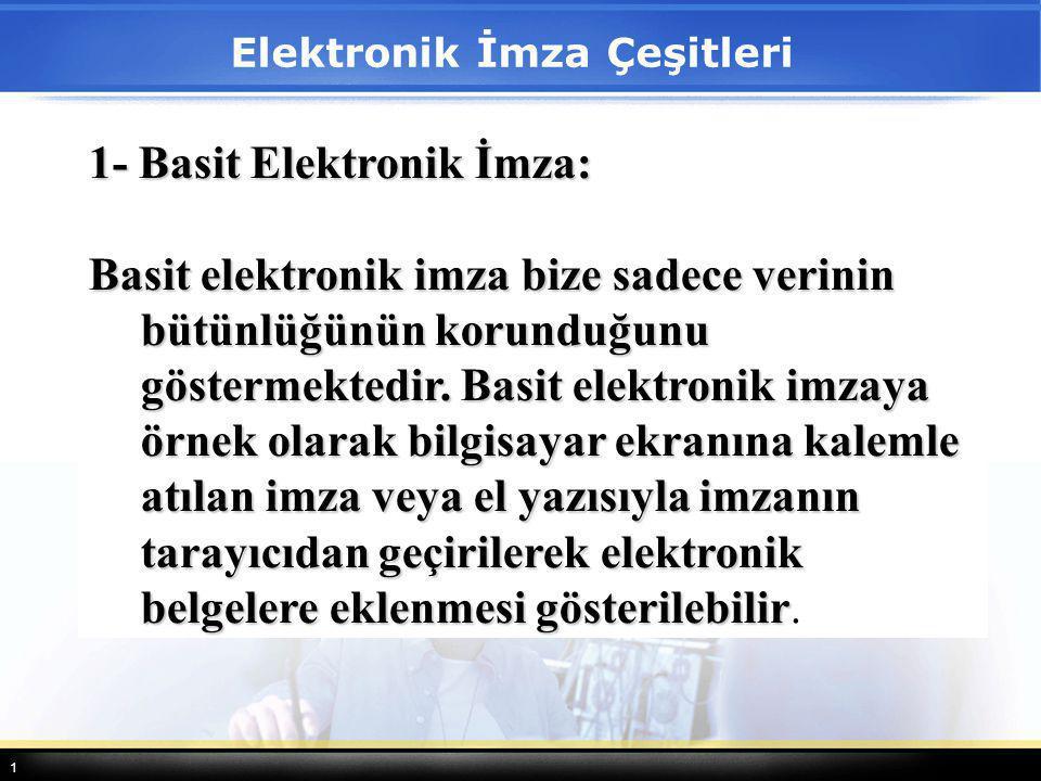 1 1- Basit Elektronik İmza: Basit elektronik imza bize sadece verinin bütünlüğünün korunduğunu göstermektedir. Basit elektronik imzaya örnek olarak bi