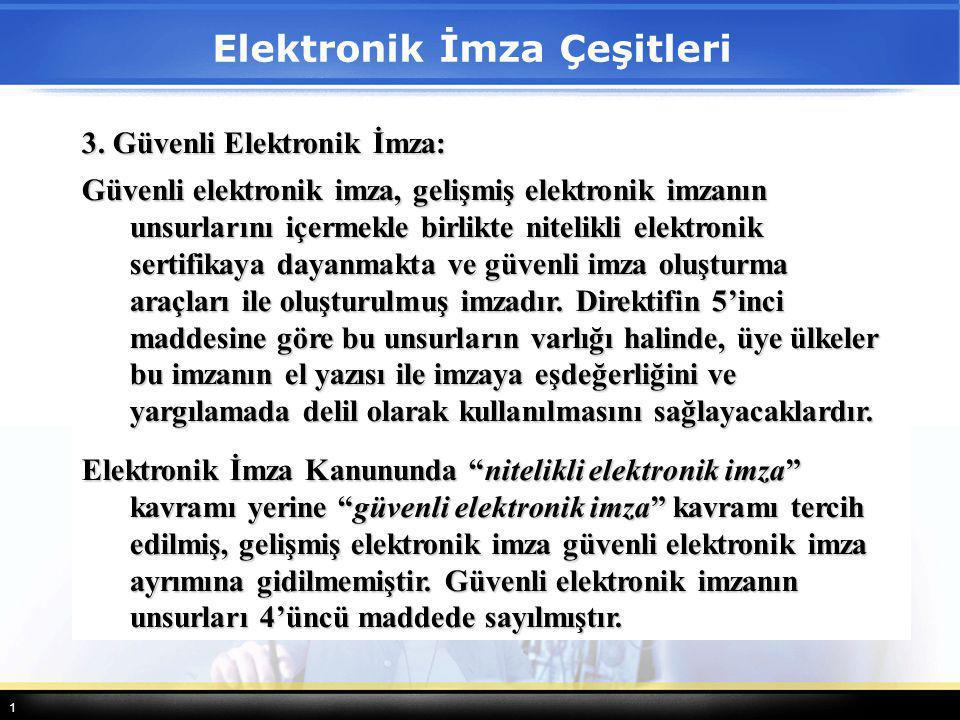 1 3. Güvenli Elektronik İmza: Güvenli elektronik imza, gelişmiş elektronik imzanın unsurlarını içermekle birlikte nitelikli elektronik sertifikaya day