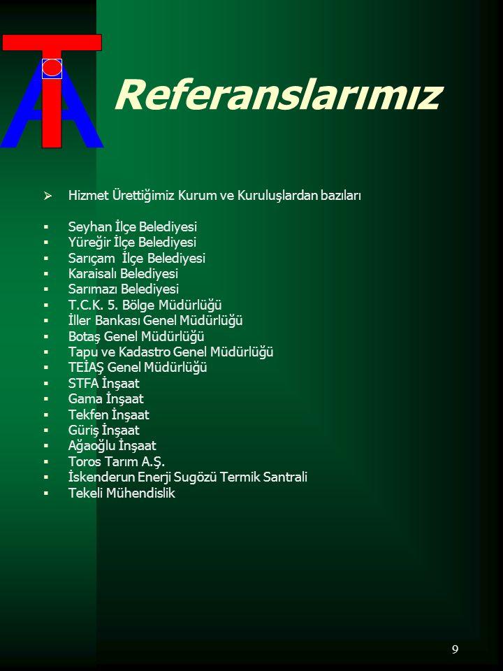 10 Bitirilen İşler  Son 10 yıl içerisinde bitirmiş olduğumuz işlerden bazıları;  2000  Adana İçmesuyu Temin Projesi Depo İnşaatı Yapım İşleri.