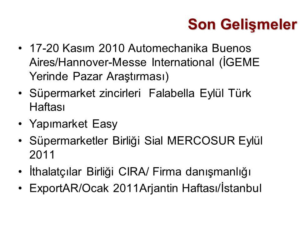 Son Gelişmeler •17-20 Kasım 2010 Automechanika Buenos Aires/Hannover-Messe International (İGEME Yerinde Pazar Araştırması) •Süpermarket zincirleri Fal