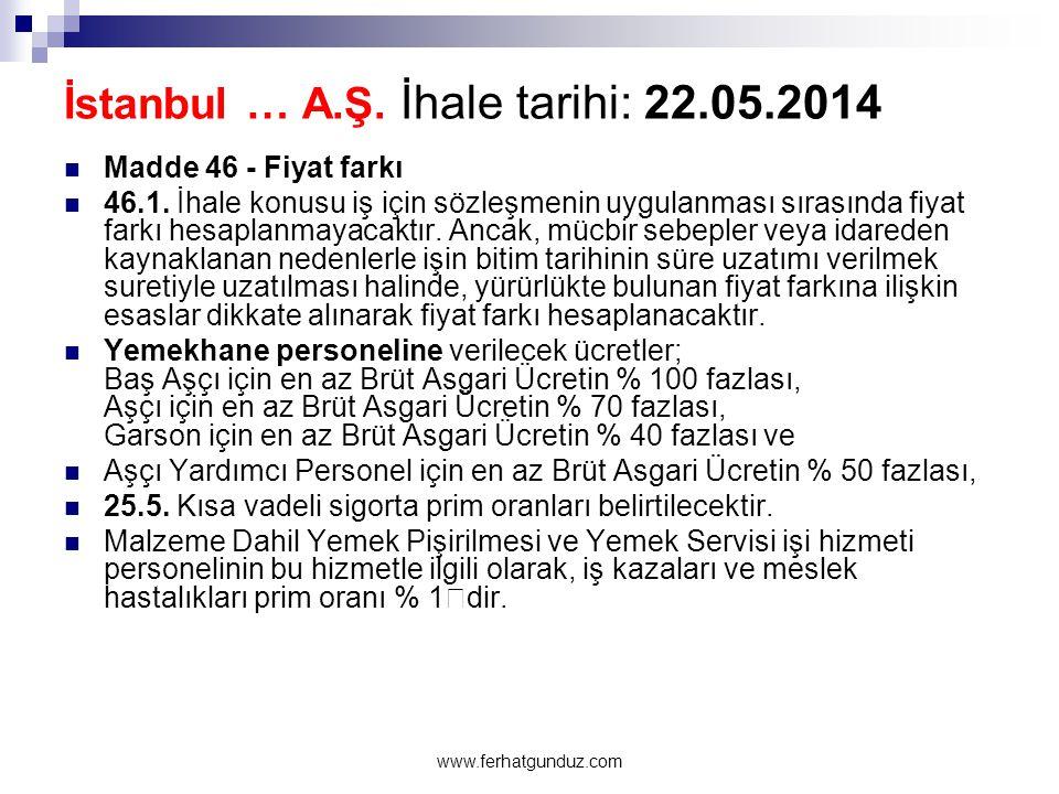 İstanbul … A.Ş. İhale tarihi: 22.05.2014  Madde 46 - Fiyat farkı  46.1. İhale konusu iş için sözleşmenin uygulanması sırasında fiyat farkı hesaplanm