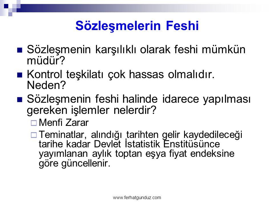 Sözleşmelerin Feshi  Sözleşmenin karşılıklı olarak feshi mümkün müdür?  Kontrol teşkilatı çok hassas olmalıdır. Neden?  Sözleşmenin feshi halinde i