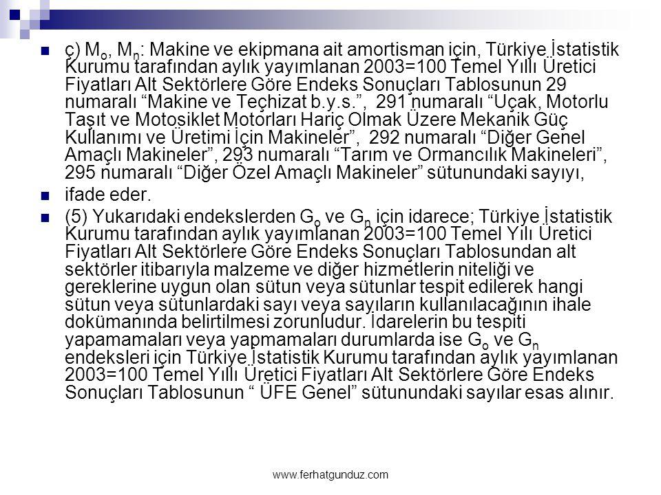  ç) M o, M n : Makine ve ekipmana ait amortisman için, Türkiye İstatistik Kurumu tarafından aylık yayımlanan 2003=100 Temel Yıllı Üretici Fiyatları A