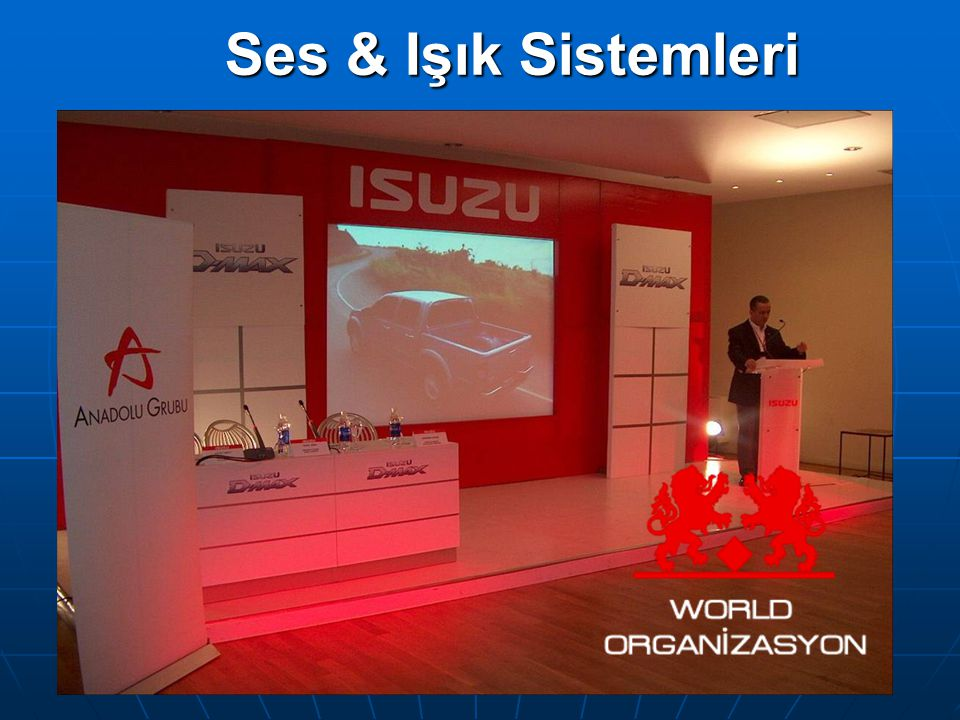 Ses Sistemleri Işık Sistemleri Sahne Sistemleri Truss Sistemleri Projektör Sistemleri Perde Sistemleri Simultane Sistem Modüler Podyumlar Stand Ekipmanları Plazma Tv Video Wall Led Ekran Gökyüzü Tarayıcı Lazer Gösterileri Protokol Tribünleri Kürsü Sistemleri