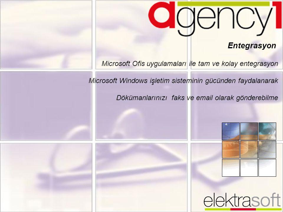 Entegrasyon Microsoft Ofis uygulamaları ile tam ve kolay entegrasyon Microsoft Windows işletim sisteminin gücünden faydalanarak Dökümanlarınızı faks v
