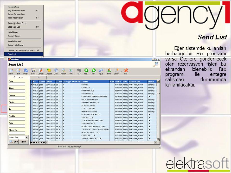 Send List Eğer sistemde kullanılan herhangi bir Fax programı varsa Otellere gönderilecek olan rezervasyon fişleri bu ekrandan izlenebilir. Fax program
