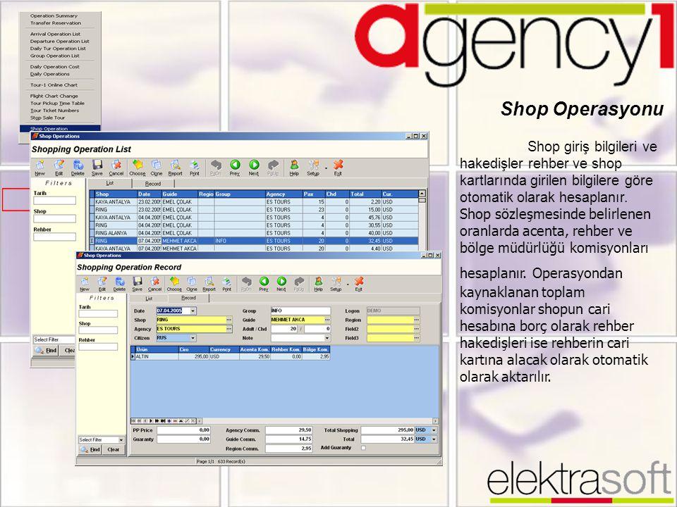 Shop Operasyonu Shop giriş bilgileri ve hakedişler rehber ve shop kartlarında girilen bilgilere göre otomatik olarak hesaplanır. Shop sözleşmesinde be