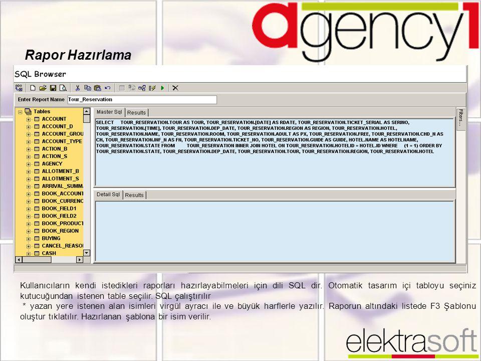 Rapor Hazırlama Kullanıcıların kendi istedikleri raporları hazırlayabilmeleri için dili SQL dir. Otomatik tasarım içi tabloyu seçiniz kutucuğundan ist