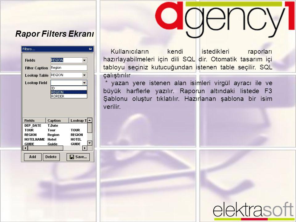 Rapor Filters Ekranı Kullanıcıların kendi istedikleri raporları hazırlayabilmeleri için dili SQL dir. Otomatik tasarım içi tabloyu seçiniz kutucuğunda