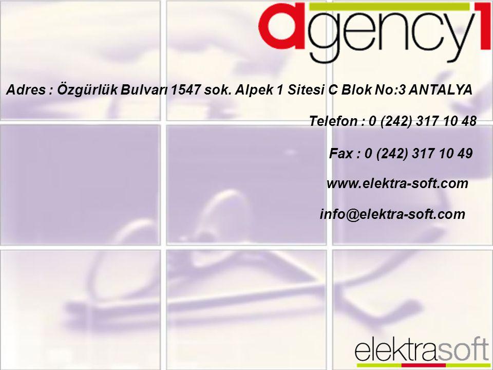 Adres : Özgürlük Bulvarı 1547 sok. Alpek 1 Sitesi C Blok No:3 ANTALYA Telefon : 0 (242) 317 10 48 Fax : 0 (242) 317 10 49 www.elektra-soft.com info@el
