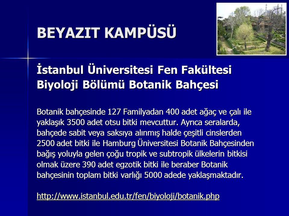 BEYAZIT KAMPÜSÜ İstanbul Üniversitesi Fen Fakültesi Biyoloji Bölümü Botanik Bahçesi Botanik bahçesinde 127 Familyadan 400 adet ağaç ve çalı ile yaklaşık 3500 adet otsu bitki mevcuttur.