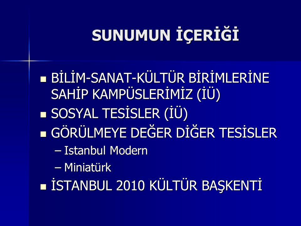 SUNUMUN İÇERİĞİ  BİLİM-SANAT-KÜLTÜR BİRİMLERİNE SAHİP KAMPÜSLERİMİZ (İÜ)  SOSYAL TESİSLER (İÜ)  GÖRÜLMEYE DEĞER DİĞER TESİSLER –Istanbul Modern –Miniatürk  İSTANBUL 2010 KÜLTÜR BAŞKENTİ