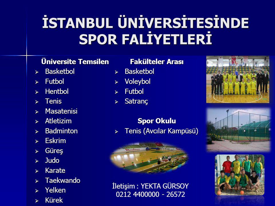İSTANBUL ÜNİVERSİTESİNDE SPOR FALİYETLERİ Üniversite Temsilen  Basketbol  Futbol  Hentbol  Tenis  Masatenisi  Atletizim  Badminton  Eskrim  Güreş  Judo  Karate  Taekwando  Yelken  Kürek Fakülteler Arası  Basketbol  Voleybol  Futbol  Satranç Spor Okulu  Tenis (Avcılar Kampüsü) İletişim : YEKTA GÜRSOY 0212 4400000 - 26572