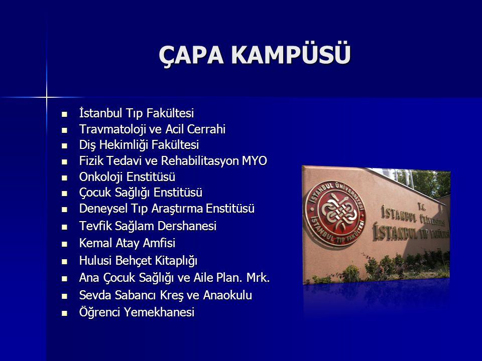 ÇAPA KAMPÜSÜ  İstanbul Tıp Fakültesi  Travmatoloji ve Acil Cerrahi  Diş Hekimliği Fakültesi  Fizik Tedavi ve Rehabilitasyon MYO  Onkoloji Enstitü