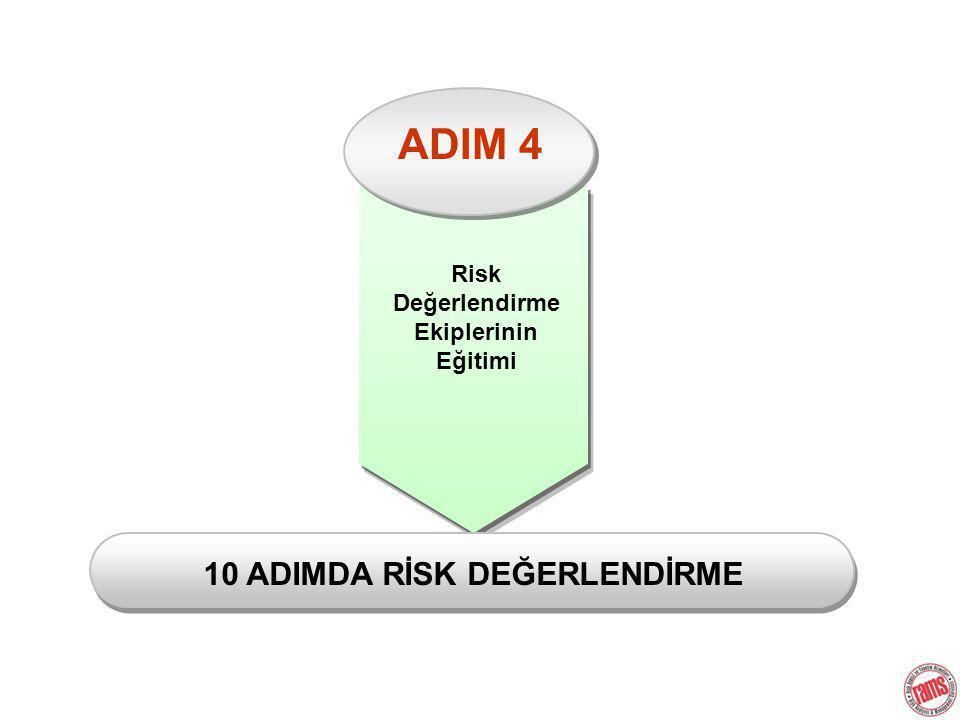 ADIM 4 Risk Değerlendirme Ekiplerinin Eğitimi 10 ADIMDA RİSK DEĞERLENDİRME
