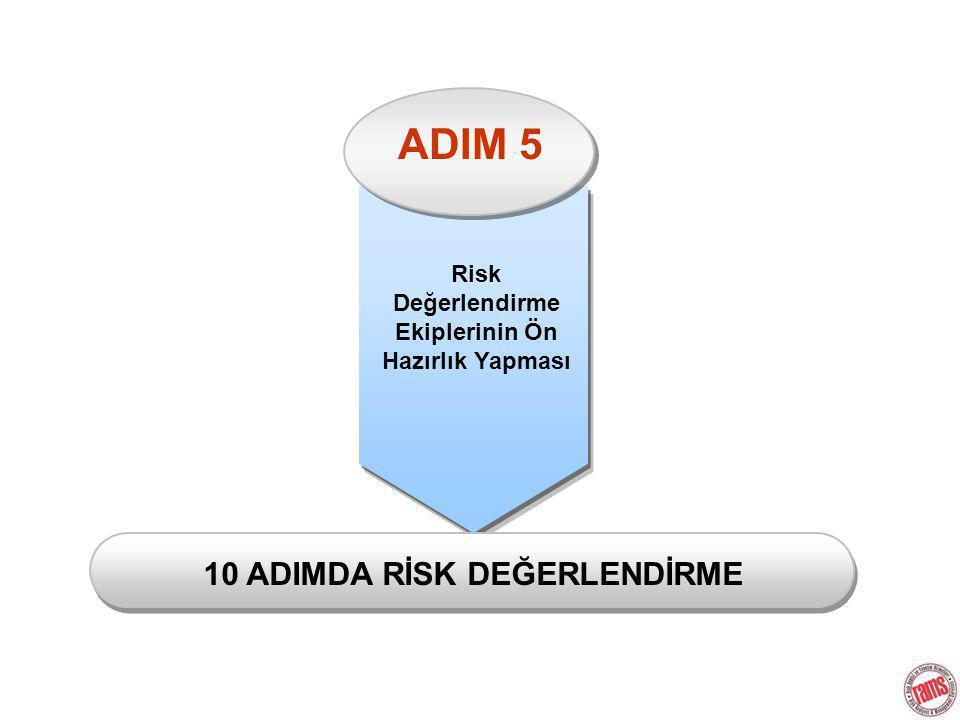 ADIM 5 Risk Değerlendirme Ekiplerinin Ön Hazırlık Yapması 10 ADIMDA RİSK DEĞERLENDİRME