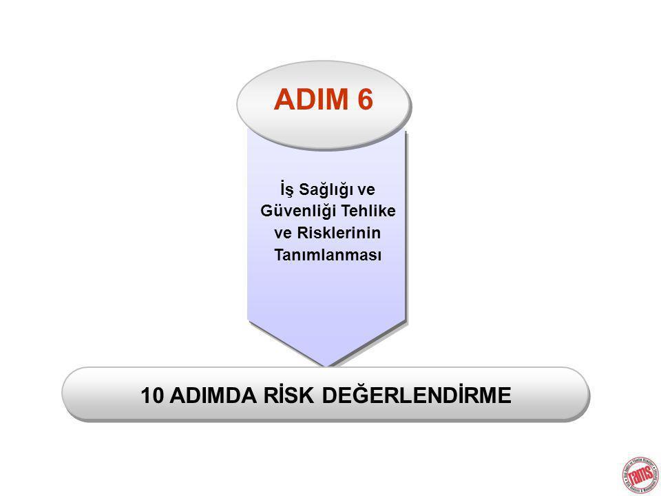 ADIM 6 İş Sağlığı ve Güvenliği Tehlike ve Risklerinin Tanımlanması 10 ADIMDA RİSK DEĞERLENDİRME