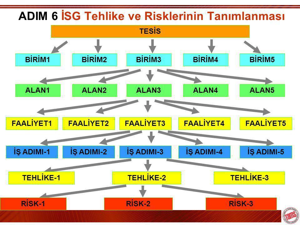 ADIM 6 İSG Tehlike ve Risklerinin Tanımlanması TESİS ALAN1ALAN2ALAN3ALAN4ALAN5FAALİYET1FAALİYET2FAALİYET3FAALİYET4FAALİYET5BİRİM1BİRİM2BİRİM3BİRİM4BİRİM5İŞ ADIMI-1İŞ ADIMI-2İŞ ADIMI-3İŞ ADIMI-4İŞ ADIMI-5TEHLİKE-1TEHLİKE-2TEHLİKE-3RİSK-1RİSK-2RİSK-3