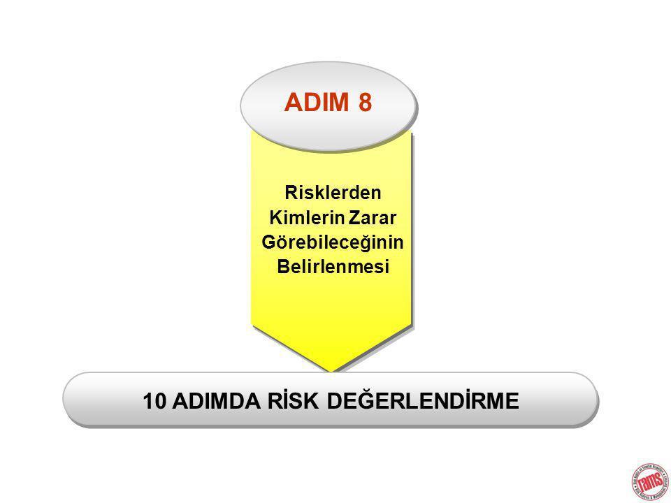 ADIM 8 Risklerden Kimlerin Zarar Görebileceğinin Belirlenmesi 10 ADIMDA RİSK DEĞERLENDİRME