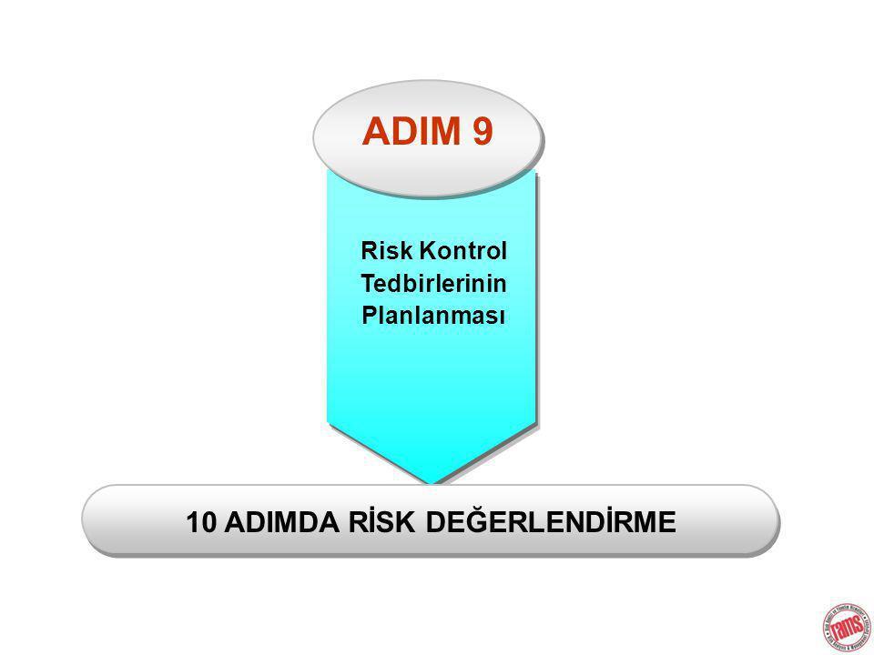 ADIM 9 Risk Kontrol Tedbirlerinin Planlanması 10 ADIMDA RİSK DEĞERLENDİRME