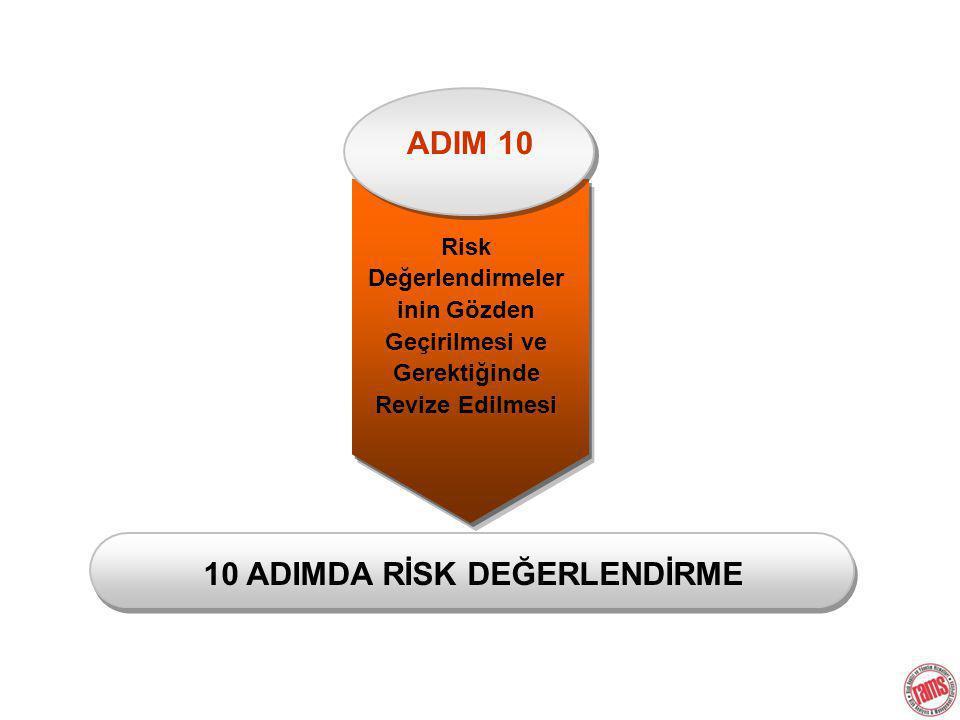Risk Değerlendirmeler inin Gözden Geçirilmesi ve Gerektiğinde Revize Edilmesi 10 ADIMDA RİSK DEĞERLENDİRME ADIM 10