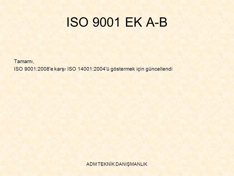 ADM TEKNİK DANIŞMANLIK ISO 9001 EK A-B Tamamı, ISO 9001:2008'e karşı ISO 14001:2004'ü göstermek için güncellendi