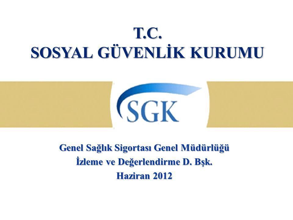 T.C. SOSYAL GÜVENLİK KURUMU Genel Sağlık Sigortası Genel Müdürlüğü İzleme ve Değerlendirme D. Bşk. Haziran 2012