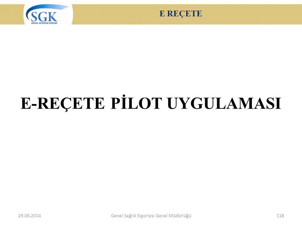 E REÇETE E-REÇETE PİLOT UYGULAMASI 29.06.2014Genel Sağlık Sigortası Genel Müdürlüğü118