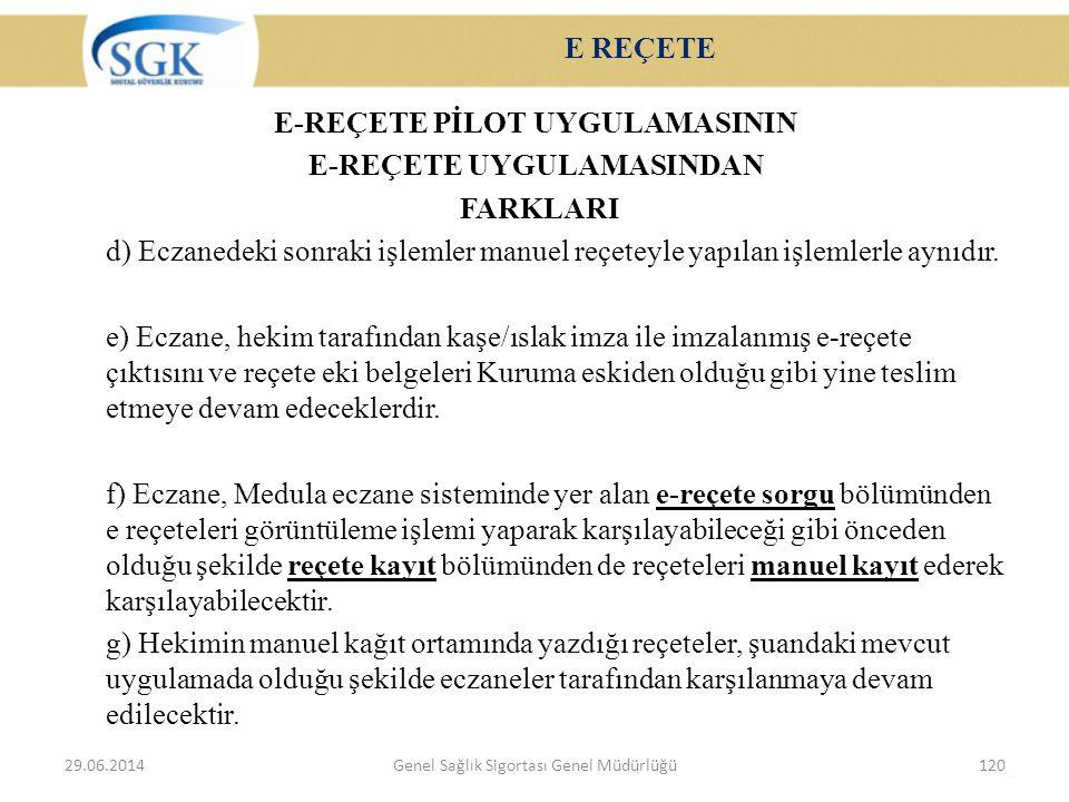 E REÇETE E-REÇETE PİLOT UYGULAMASININ E-REÇETE UYGULAMASINDAN FARKLARI d) Eczanedeki sonraki işlemler manuel reçeteyle yapılan işlemlerle aynıdır. e)