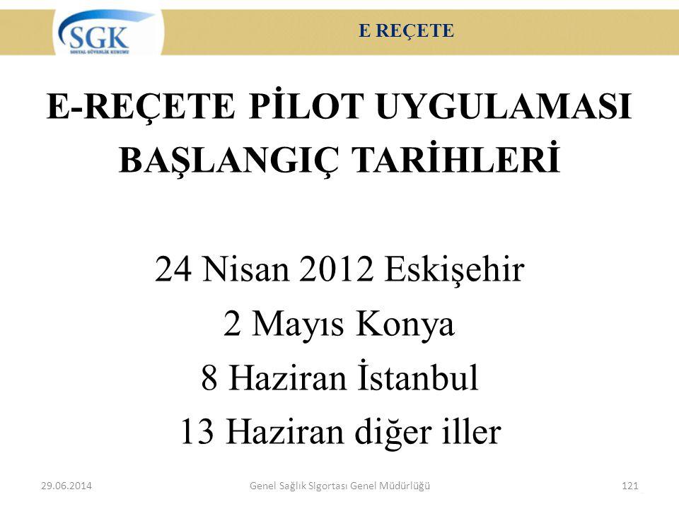 E REÇETE E-REÇETE PİLOT UYGULAMASI BAŞLANGIÇ TARİHLERİ 24 Nisan 2012 Eskişehir 2 Mayıs Konya 8 Haziran İstanbul 13 Haziran diğer iller 29.06.2014Genel