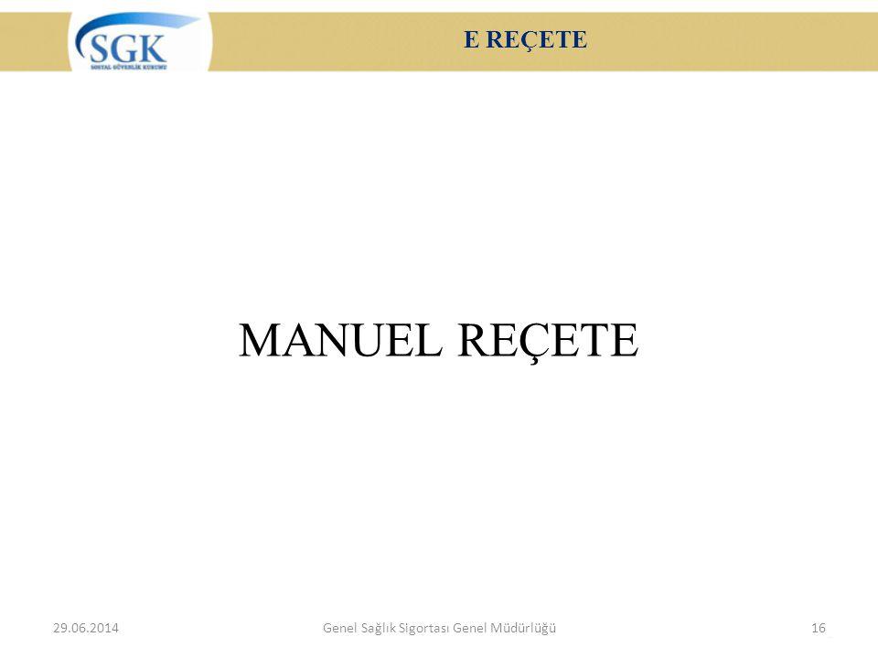 E REÇETE MANUEL REÇETE 29.06.2014Genel Sağlık Sigortası Genel Müdürlüğü16