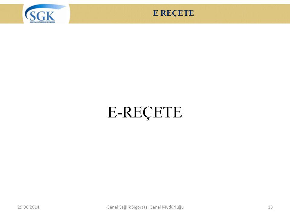 E REÇETE E-REÇETE 29.06.2014Genel Sağlık Sigortası Genel Müdürlüğü18