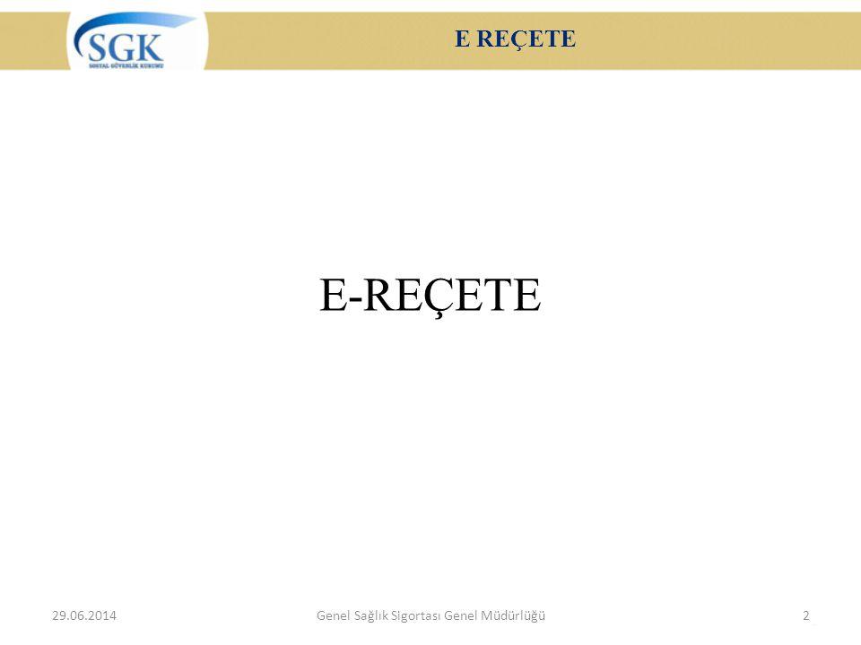 E REÇETE E-REÇETE 29.06.2014Genel Sağlık Sigortası Genel Müdürlüğü2