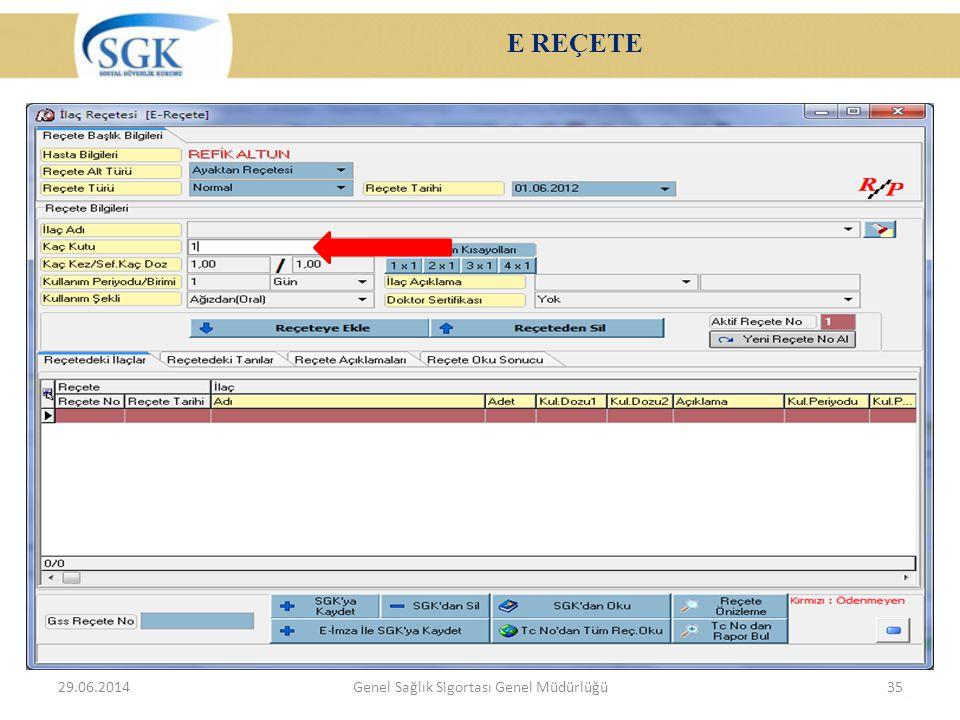 E REÇETE 29.06.2014Genel Sağlık Sigortası Genel Müdürlüğü35