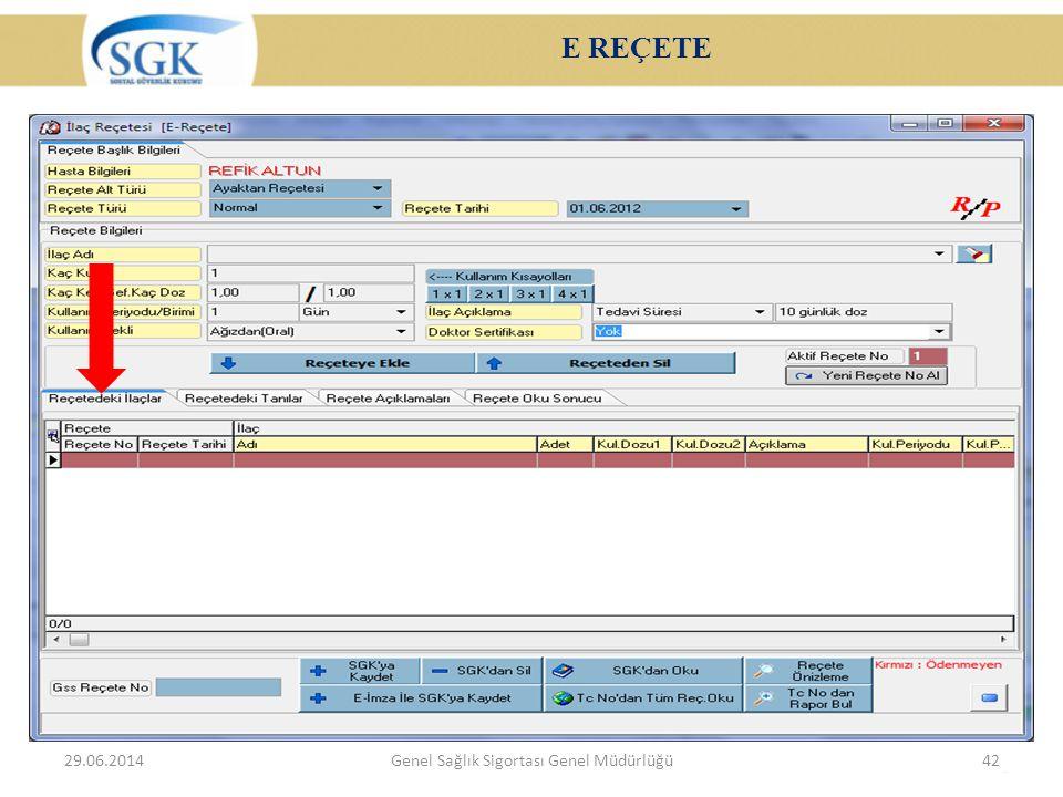 E REÇETE 29.06.2014Genel Sağlık Sigortası Genel Müdürlüğü42