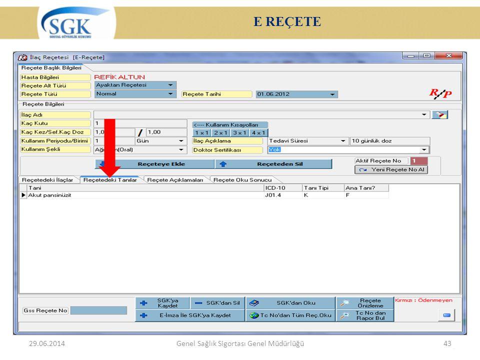 E REÇETE 29.06.2014Genel Sağlık Sigortası Genel Müdürlüğü43