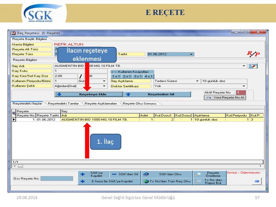 E REÇETE 29.06.2014Genel Sağlık Sigortası Genel Müdürlüğü57 İlacın reçeteye eklenmesi 1. İlaç