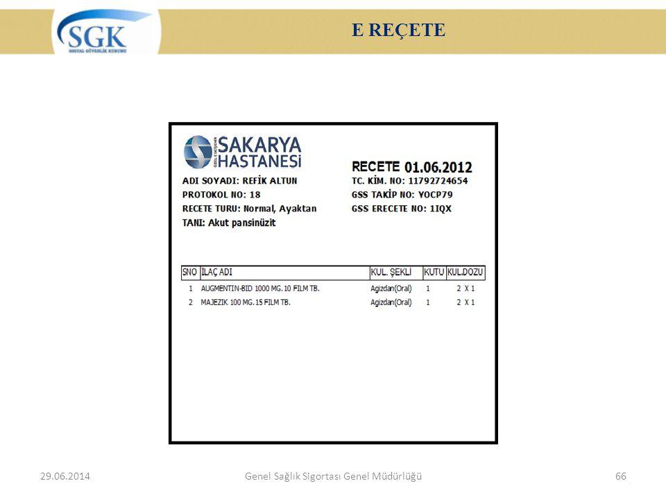 E REÇETE 29.06.2014Genel Sağlık Sigortası Genel Müdürlüğü66