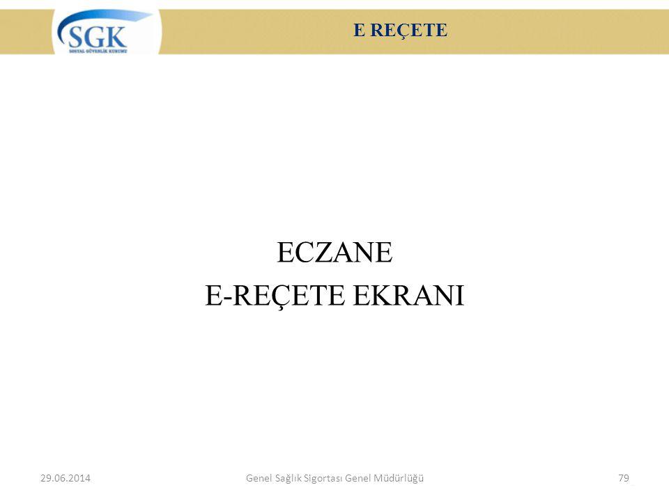 E REÇETE ECZANE E-REÇETE EKRANI 29.06.2014Genel Sağlık Sigortası Genel Müdürlüğü79