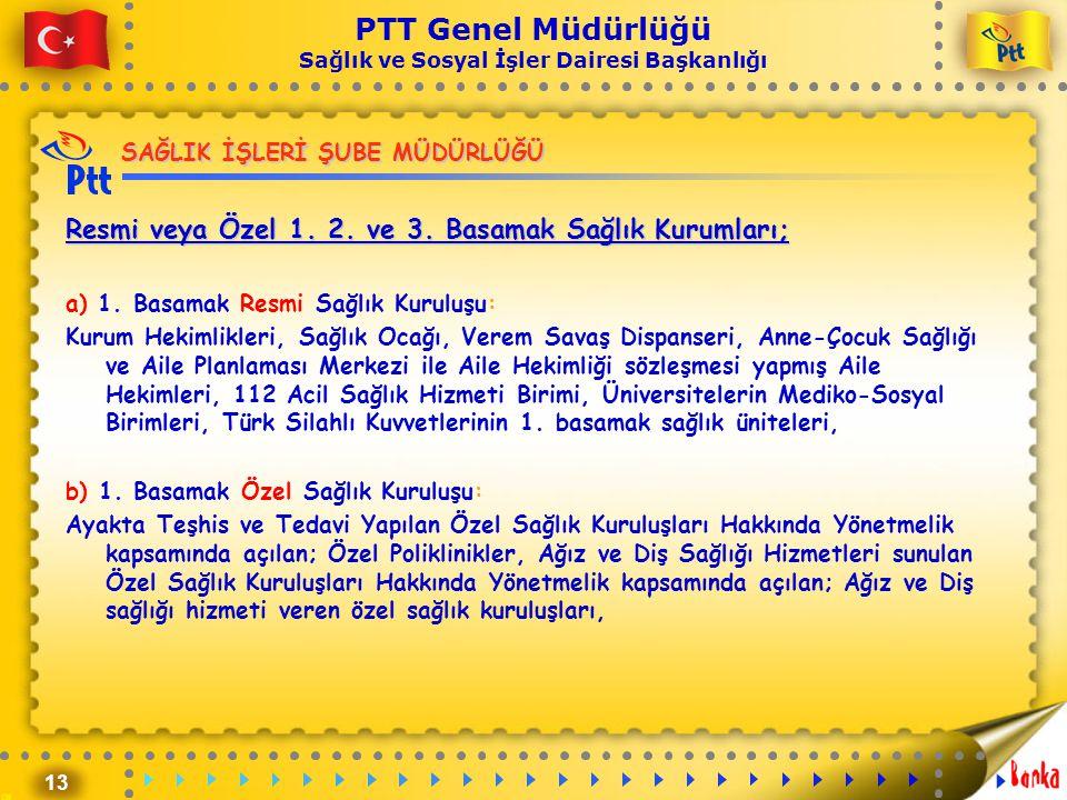 13 PTT Genel Müdürlüğü Sağlık ve Sosyal İşler Dairesi Başkanlığı SAĞLIK İŞLERİ ŞUBE MÜDÜRLÜĞÜ Resmi veya Özel 1. 2. ve 3. Basamak Sağlık Kurumları; a)