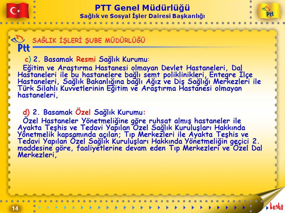 14 PTT Genel Müdürlüğü Sağlık ve Sosyal İşler Dairesi Başkanlığı SAĞLIK İŞLERİ ŞUBE MÜDÜRLÜĞÜ c) 2. Basamak Resmi Sağlık Kurumu: Eğitim ve Araştırma H