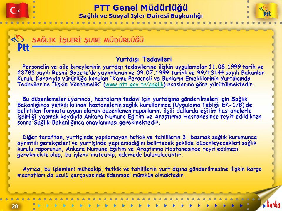 29 PTT Genel Müdürlüğü Sağlık ve Sosyal İşler Dairesi Başkanlığı SAĞLIK İŞLERİ ŞUBE MÜDÜRLÜĞÜ Yurtdışı Tedavileri Personelin ve aile bireylerinin yurt
