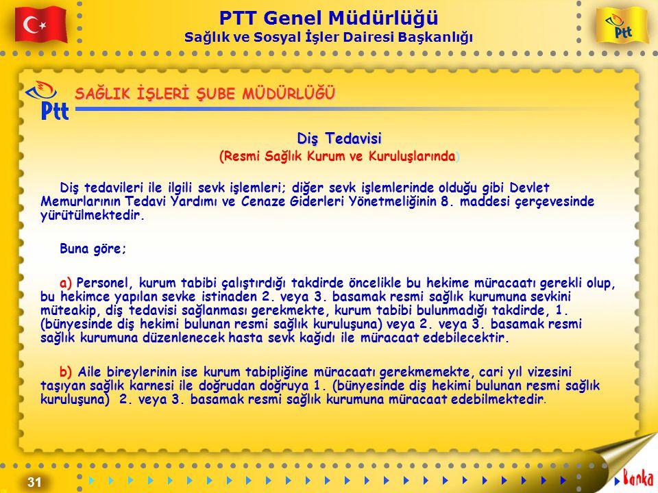 31 PTT Genel Müdürlüğü Sağlık ve Sosyal İşler Dairesi Başkanlığı SAĞLIK İŞLERİ ŞUBE MÜDÜRLÜĞÜ Diş Tedavisi (Resmi Sağlık Kurum ve Kuruluşlarında ) Diş