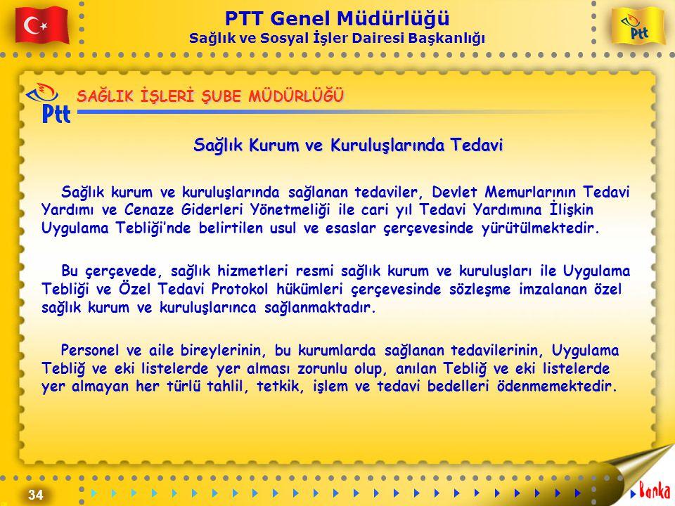 34 PTT Genel Müdürlüğü Sağlık ve Sosyal İşler Dairesi Başkanlığı SAĞLIK İŞLERİ ŞUBE MÜDÜRLÜĞÜ Sağlık Kurum ve Kuruluşlarında Tedavi Sağlık kurum ve ku