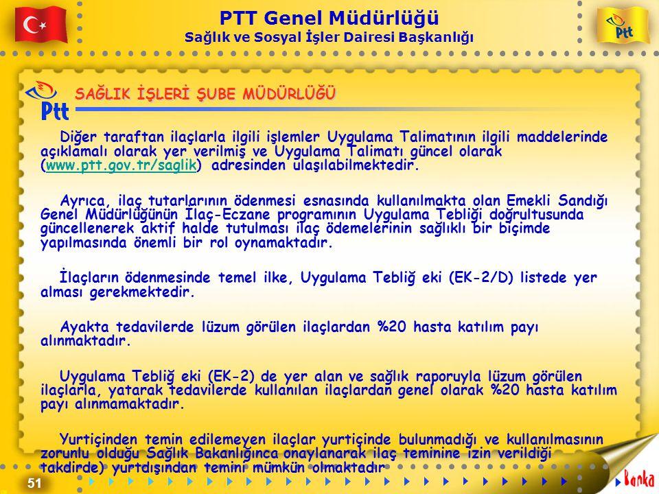 51 PTT Genel Müdürlüğü Sağlık ve Sosyal İşler Dairesi Başkanlığı SAĞLIK İŞLERİ ŞUBE MÜDÜRLÜĞÜ Diğer taraftan ilaçlarla ilgili işlemler Uygulama Talima