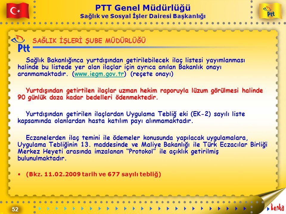 52 PTT Genel Müdürlüğü Sağlık ve Sosyal İşler Dairesi Başkanlığı SAĞLIK İŞLERİ ŞUBE MÜDÜRLÜĞÜ Sağlık Bakanlığınca yurtdışından getirilebilecek ilaç li