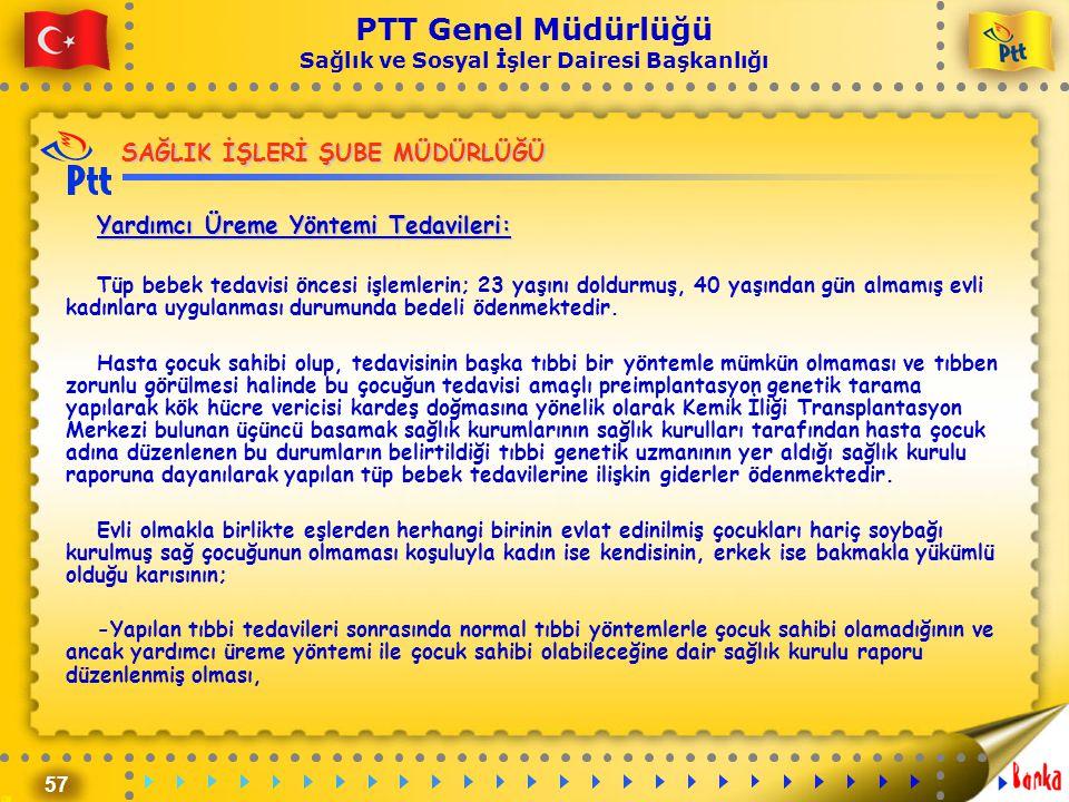 57 PTT Genel Müdürlüğü Sağlık ve Sosyal İşler Dairesi Başkanlığı SAĞLIK İŞLERİ ŞUBE MÜDÜRLÜĞÜ Yardımcı Üreme Yöntemi Tedavileri: Tüp bebek tedavisi ön