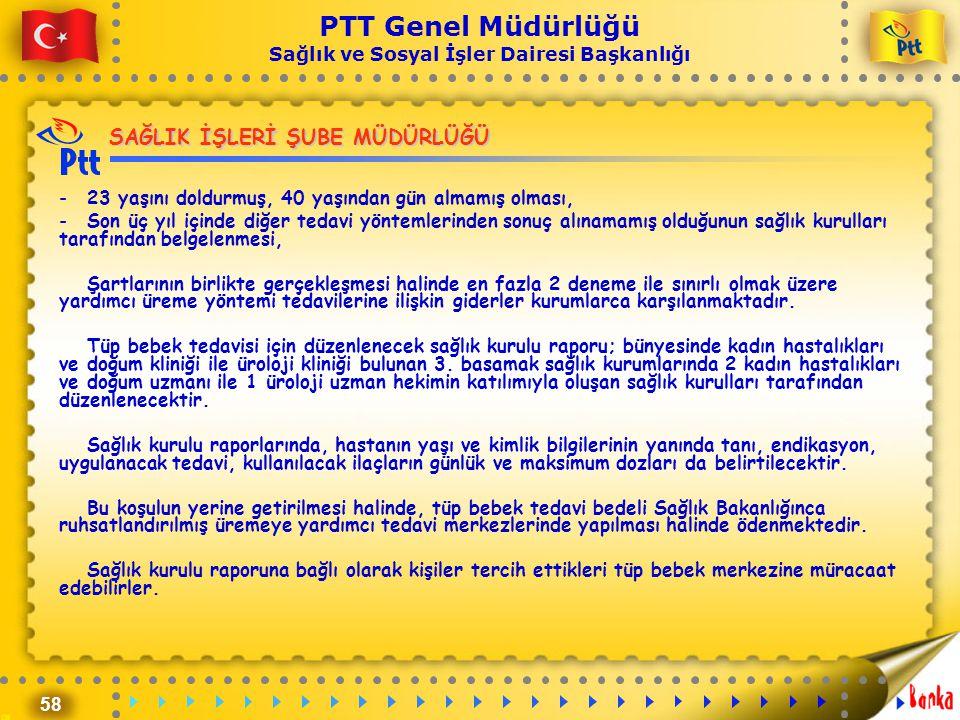 58 PTT Genel Müdürlüğü Sağlık ve Sosyal İşler Dairesi Başkanlığı SAĞLIK İŞLERİ ŞUBE MÜDÜRLÜĞÜ -23 yaşını doldurmuş, 40 yaşından gün almamış olması, -S