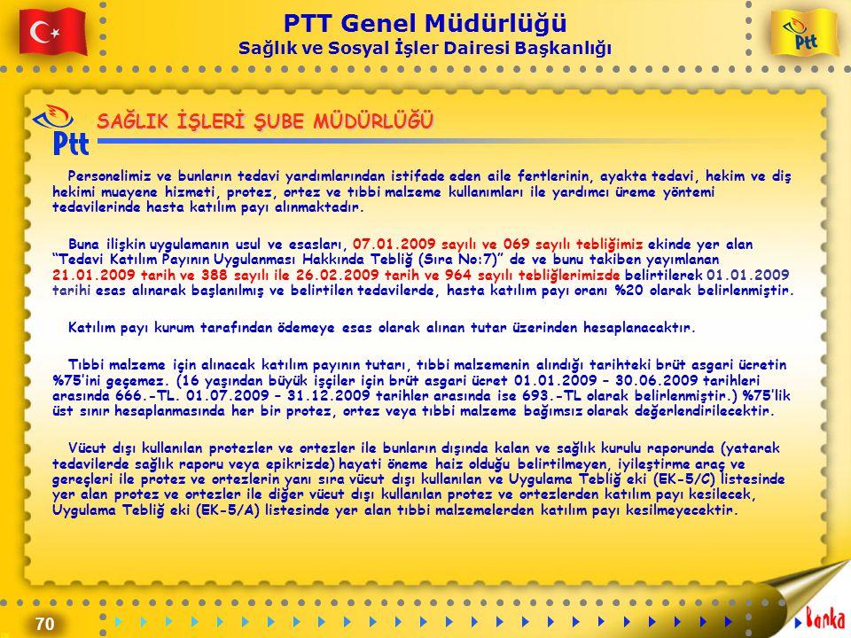 70 PTT Genel Müdürlüğü Sağlık ve Sosyal İşler Dairesi Başkanlığı SAĞLIK İŞLERİ ŞUBE MÜDÜRLÜĞÜ Personelimiz ve bunların tedavi yardımlarından istifade