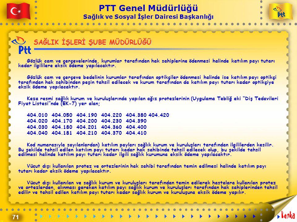 71 PTT Genel Müdürlüğü Sağlık ve Sosyal İşler Dairesi Başkanlığı SAĞLIK İŞLERİ ŞUBE MÜDÜRLÜĞÜ Gözlük cam ve çerçevelerinde, kurumlar tarafından hak sa